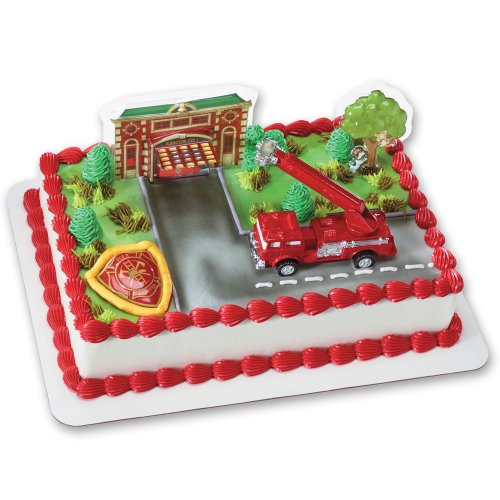 Fire Truck and Station DecoSet Cake Decoration Pac-station