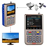 "GT MEDIA V8 Satellite Finder Meter TV DVB-S/S2/S2X Signal Receiver Sat Detector, HD 1080P Free to Air FTA 3.5"" LCD Built-in 3000mAh Battery for Adjusting Sat Dish"