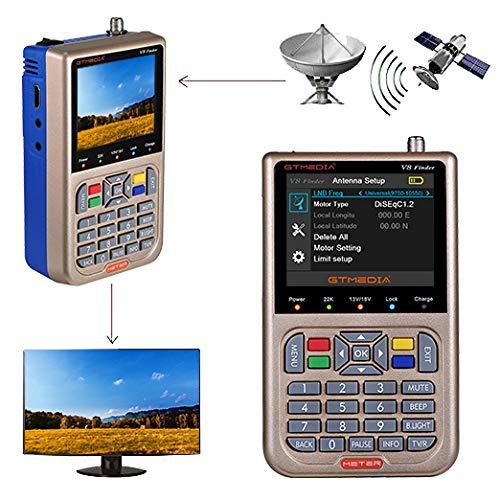 """GT MEDIA V8 Satelliten Finder Meter Sat Finder Satellitenerkennung DVB-S / S2 / S2X Signalempfänger Decoder HD 1080P FTA 3,5 \""""LCD Eingebauter 3000mAh Zur präzisen Einstellung der Satellitenschüssel"""