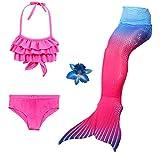 Mädchen 3 STÜCKE Meerjungfrau Schwanz Badeanzug Prinzessin Bademode Bikini Sets Können hinzufügen Monofin (Pinkblue, 130(6-7Y))