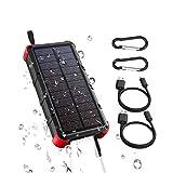 OUTXE Solar Powerbank Outdodor 20000mAh Quick Charge 4A Dual Eingang (Type C und USB) IP67 Wasserdicht Solar Ladegerät