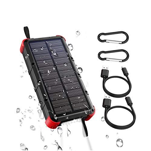 OUTXE Powerbank Solare Impermeabile 20000mAh Ricarica Rapida Batteria Esterna Caricabatterie Solare Portatile Porte a Aoppio Ingresso (USB-C e Micro USB)