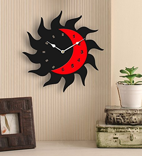 Sehaz Artworks Fire Moon Black and Red Wood Wall Clock (25.5 cm...