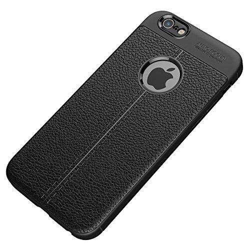 "MOONCASE iPhone 6 Plus/iPhone 6s Plus Coque, [Litchi Pattern] Housse Resilient TPU Etui Anti-Rayures Antichoc Protection Case Rugged Armure Defender pour iPhone 6 Plus/iPhone 6s Plus 5.5"" Rouge Noir"