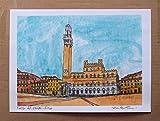 Siena,Piazza del campo-Original Druck, erstellt vom Künstler Davide Pacini - Größe cm 29,7x21 cm, Material, A4-Druckpapier, 80g / m² - Hergestellt in Italien, Toskana, Lucca.