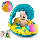 YOSPOSS Baby Float, aufblasbare Baby Pool Float Schwimmring mit Sonnendach für Das Alter 6–48Monate mit Water-Polo & Fluoreszierend Armband