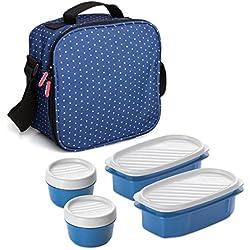 Tatay Urban Food Dots - Bolsa térmica Porta Alimentos con fiambreras Incluidas, Color Azul