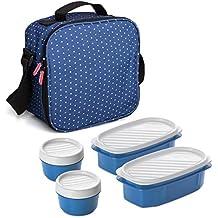 TATAY Urban Food Dots - Bolsa Térmica Porta Alimentos con Tápers Incluidos, Color Azul