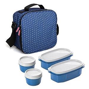 Bolsa Térmica Porta Alimentos con Tápers Incluidos, Color Azul