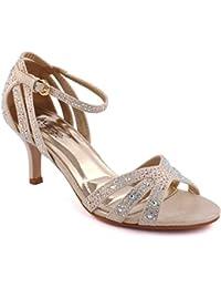 Unze Femmes 'Geegy' Diamante Embellis Strappy Mi-Haut talon aiguille Soirée Soirée Carnaval Rejoindre Brunch Mariage Talon Sandales Court Chaussures Taille 3-8