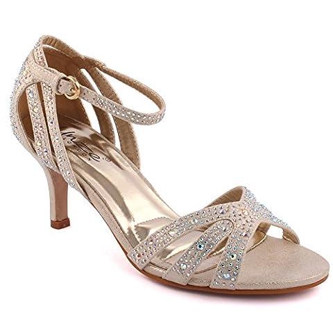 Chaussures Femme Soiree - Unze Femmes 'Geegy' Diamante Embellis Strappy Mi-Haut