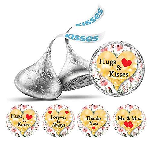 Darling Souvenir Packung mit 190 Stück DIY Heart & Blumenhochzeits-Aufkleber Hershey Kisses Labels-Flitter Gold