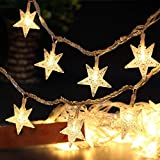 Galaxer Sterne Lichterkette 40 LEDs 20ft / 6m Sternform Führte Schnurlicht USB Angetriebenes Nachtdekorationlicht Wasserdichte Geführte Birne Warmes Weiß bunte party lichterkette garten