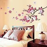 Wall Sticker Fiori, Adesivi Murales, Carta Da Pareti'Fiore Rosa Farfalla' Decorazione Murali Da Parete Art Decorazione Adesivi Da Parete Baohooya