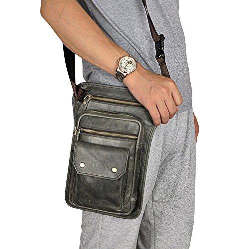 Genda 2Archer Sling Tactical Oberschenkeltasche Echtes Leder Bein Tasche (Style 1 Schwarz) Style 1 Grau