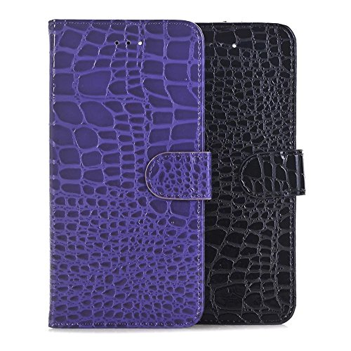 Krokodil Textur Muster Wallet Stand Case Retro Flip Wallet Stand Case für Apple IPhone 7 Plus ( Color : Red , Size : IPhone7 Plus ) Purple
