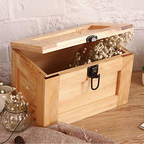 FOKN Große Vintage Holz Home Lock Box Speicherorganisator Kommode Desktop Aufbewahrungsbox Einfache Aufbewahrungsbox,A-29CM*22CM*21CM (Kommode Lock)