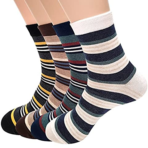 Men's Socks Stripe Striped 4 Pairs Socks With Extra Fine Combed Cotton Size 7 to 11 …