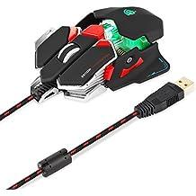 EasySMX Ratón Juegos Óptico Combaterwing-Gaming USB 4000 DPI LED Óptico con 10 Programables y Personalizadas Botones Retroiluminación para PC y Ordenador Portátil (Negro)