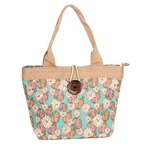 Fortunings JDS® Nuovo stile floreale tela stampata con disegno del tasto di legno borsa da lavoro borsa tote stile orologio verde