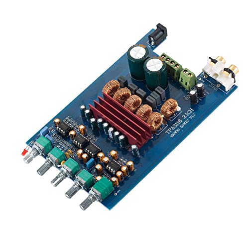 Nobsound Audio TPA3116D2 Hi-Fi 2.1 Channel Audio Digital Power Amplifier Stereo Amp Board 200W (2×50W + 100W) Subwoofer; Treble & Bass & Subwoofer Frequency Independent Control