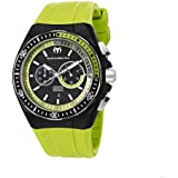 Technomarine Men's Quartz Watch with Black Dial Chronograph Display and Green Silicone Strap 110019