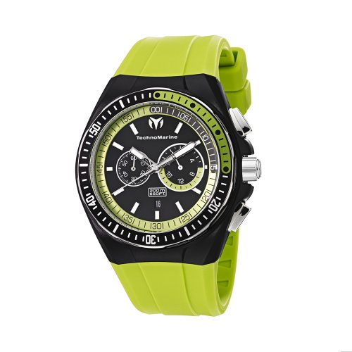 Technomarine 110019 Orologio Cronografo da Polso, Uomo, Cinturino in Silicone, Verde