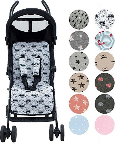 Sitzauflage Universal für Kinderwagen Janabebe + Schutz Kabelstränge (Raccoon)