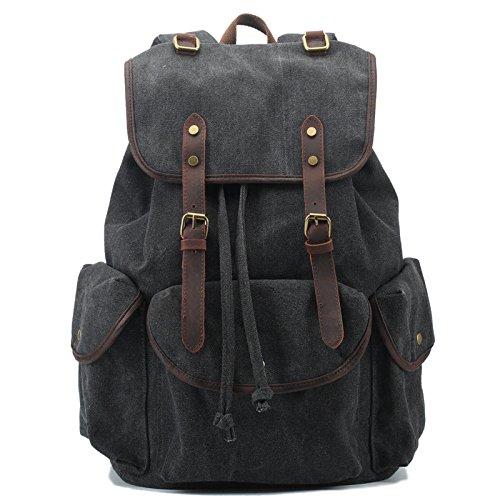 Mefly Tela zaino Vintage Leather Casual Bookbag uomini zaino grigio scuro Black