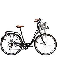"""Cloot Bike - Bicicleta urbana -Bici de paseo Sunset ruedas de 28"""" Cambio Shimano de 6 velocidades, cesta, portabultos, luces LED incluidos, Talla: (De 1,60 a 1,85)"""