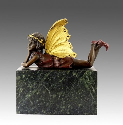 Kunst & Ambiente - Fabelhafte Bronzefigur - Elfe liegend - eine Kreation von Milo - signiert - Elfen Skulptur - Deko Figur - Dekoration - Fee