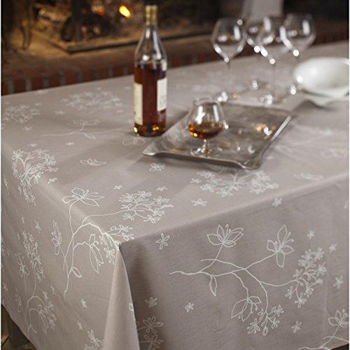 Fleur De Soleil n160cleu Tischdecke QUADRATISCH Beschichtete Baumwolle 160x 160cm, Stoff, rosa / weiß, 160x160x0.2 cm (Tischdecke Quadratische Bettwäsche Rosa)
