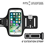 PORTHOLIC Universal Sweat Resistant Sports Armband For iPhone 7 Plus, iPhone 6 Plus, iPhone 6s Plus, Samsung Galaxy S8, S8 Plus, S7 edge, S6 edge, Huawei Nexus Android With Screen Up to 6.0 inches -Extension Band- For Running,Jogging,Hiking,Biking With Key&Cards Holder, Cable Locker (BLACK)