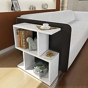 Table d'appoint karinus–Blanc en bois de tissu–Table d'appoint moderne au design tendance avec plateau