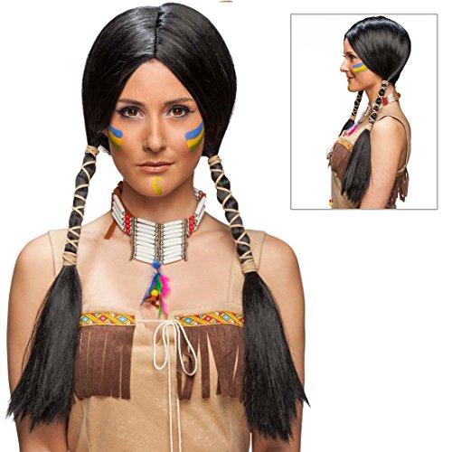 Net toys parrucca da indiana capelli finti da squaw per carnevale nera - capigliatura finta da pocahontas capelli lunghi donna indiana parrucchino per donne con codine accessorio costume di carnevale