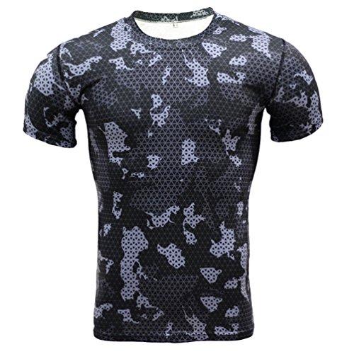 YiJee Herren Sports T-Shirt Quick-Dry Kurzarm Fitness Compression 3XL (Körper Kompressionskleidung)