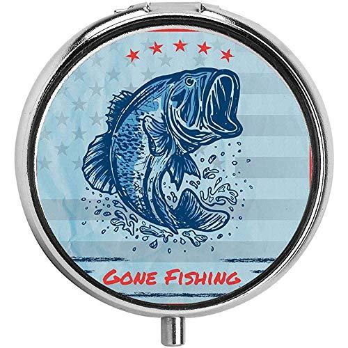 Vintage Design Forelle Fisch Sterne in der amerikanischen Flagge farbigen Rahmen Pille Fall Runde 3 Fach Metall tragbare Pille Container