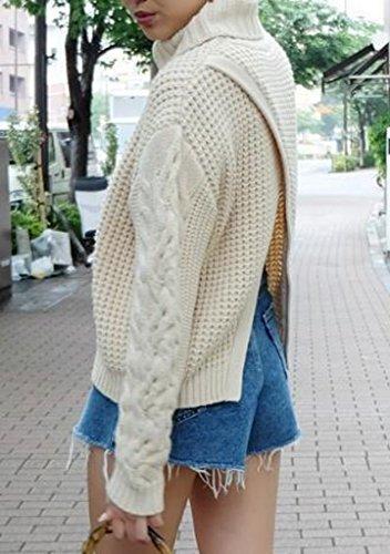 Bigood Femme Casual Pulls Uni Manteau en Tricot Dos Avec Culotte Sweater Loose Haute Col Beige