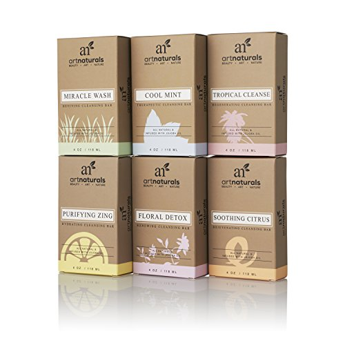 ArtNaturals Natural Soap Bar Gift Set – (6 x 4 Oz / 113g) – Infused with Jojoba Oil – for All Skin Types – Body and Face – Tea Tree, Lavender, Eucalyptus, Lemon, Grapefruit and Orange – Men and Women