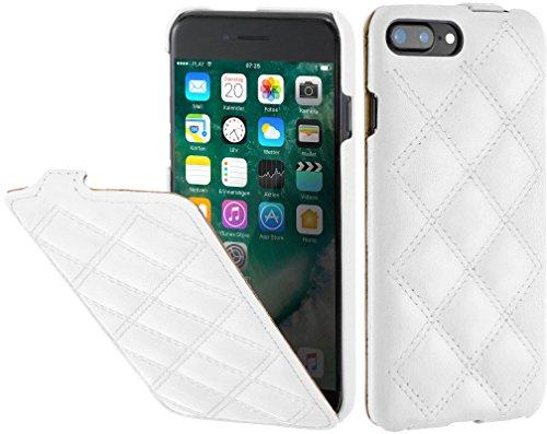 StilGut UltraSlim Case Hülle Leder-Tasche für iPhone 8 Plus & iPhone 7 Plus. Dünnes Flip-Case aus Echtleder für das Original iPhone 8 Plus & iPhone 7 Plus (5,5 Zoll), Schwarz Weiß Nappa - Karat