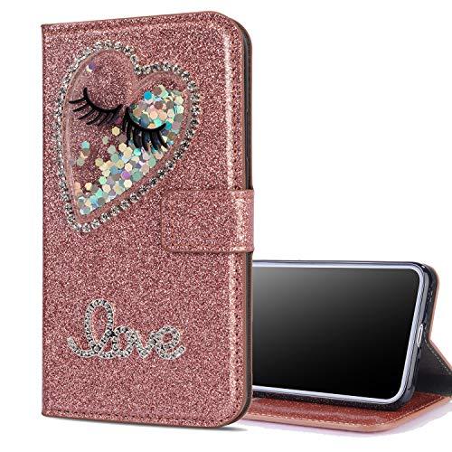 Preisvergleich Produktbild Nadoli Leder Hülle für Galaxy J3 2017, Luxus Bling Glitzer Diamant 3D Handyhülle im Brieftasche-Stil Wimper Herz Flip Schutzhülle Etui für Samsung Galaxy J3 2017, Rose Gold