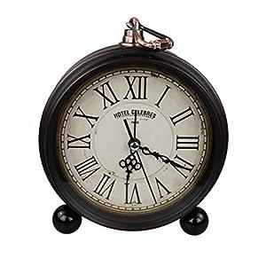 GMMH Tischuhr Nostalgie Antik Vintage Retro Metall Standuhr Dekowecker Uhr Wecker Design (Antik Braun 27-1)