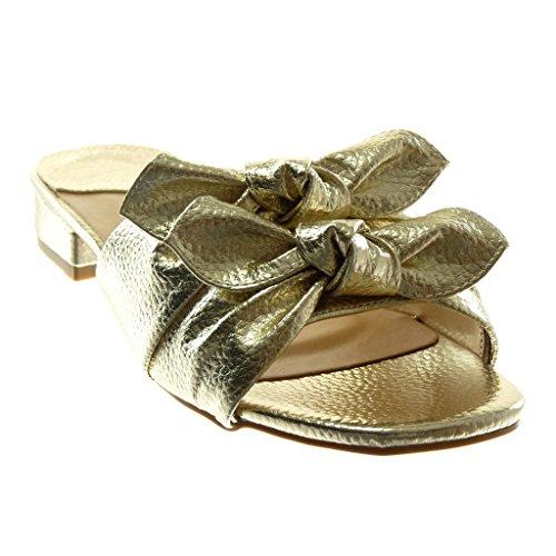 Angkorly Scarpe Moda Sandali Mules Slip-On Donna Nodo a Grana Tacco a Blocco 3 cm Oro