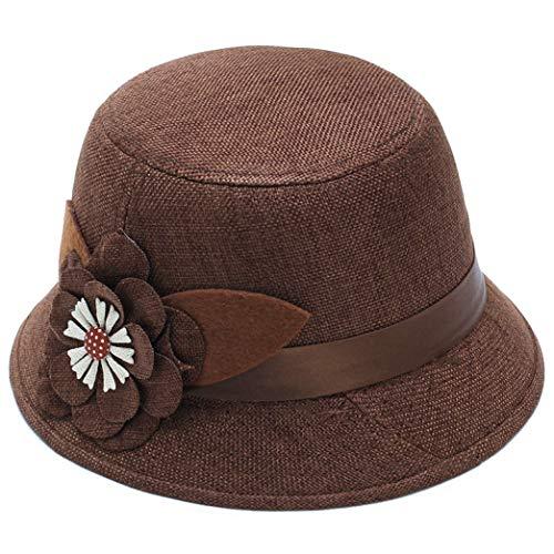 GOUNURE Reine Wolle Roll-up Krempe Eimer Cloche Hut Fedora Hüte Floppy Classic Vintage Trilby Jazz Cap Sonnenhut mit Blumenband -