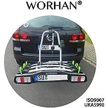 WORHAN ® Soporte Portabicicletas para Enganche de Remolque Bola Luces LED (para 3 bicicletas)