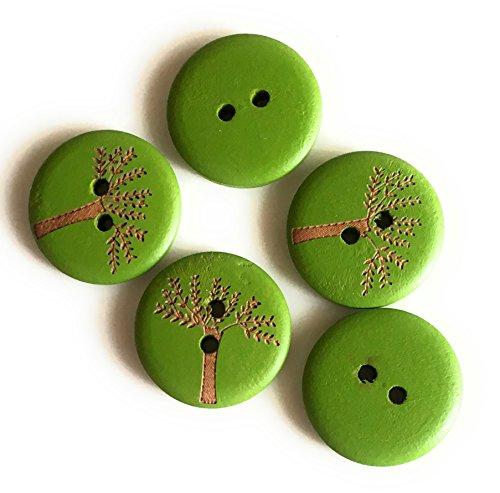 15 Boutons en Bois Multicolores 20mm décorés avec Un Arbre de Vie (Vert)