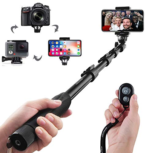 Arespark Selfie Palo, Profesional Ajustable Auto-Bloqueo telescópica Extensible Palo Mano Monopod Brazo Polo con Adaptador para trípode y Abrazadera de teléfono para el Smartphones Android iPhone