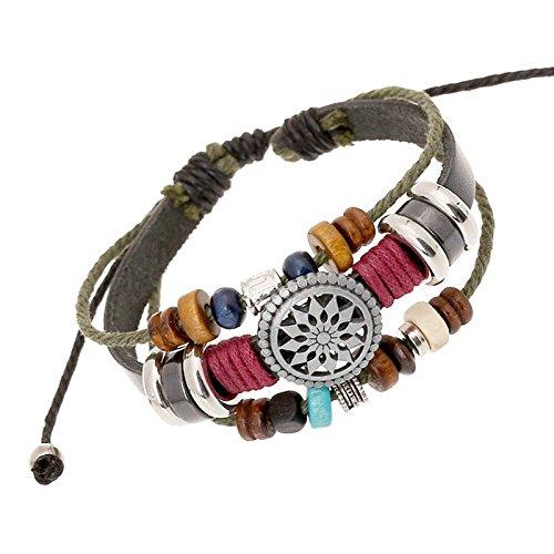 Mehrschichtiges Perlenarmband im böhmischen Ethno-Stil, handgewebtes Vintage-Armband, 30 cm langes Legierungsleder,wunderbares Geschenk für Sie und Ihre Familie (Farbe)