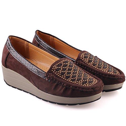 Unze Casual Shoes Comfy cuneo delle donne ' Traci ' Marrone