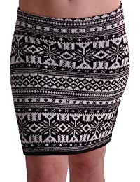 EyeCatchClothing - Damen warmer Strick stretch Rock im Azteken Design